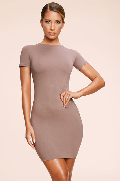 Kennedy Short Sleeve Mini Dress - Mocha
