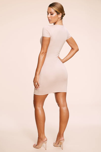 Kennedy Short Sleeve Mini Dress - Nude - MESHKI