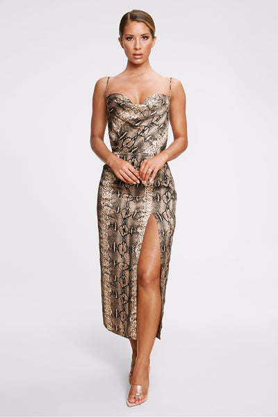 Kimberly Cowl Front Midi Dress - Snake - MESHKI