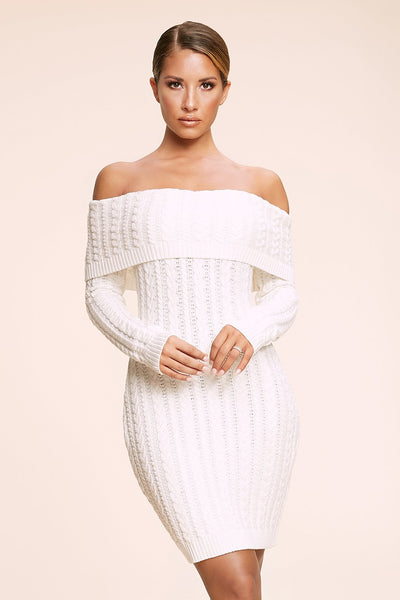 Annalise Cable Knit Off The Shoulder Dress - Cream