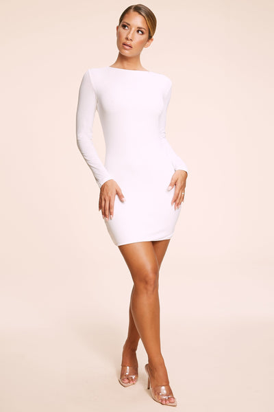 Kennedy Long Sleeve Mini Dress - White - MESHKI