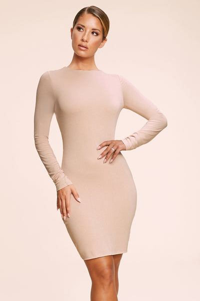 Kennedy Long Sleeve Mini Dress - Nude