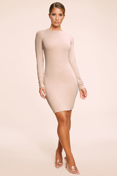 Kennedy Long Sleeve Mini Dress - Nude - MESHKI
