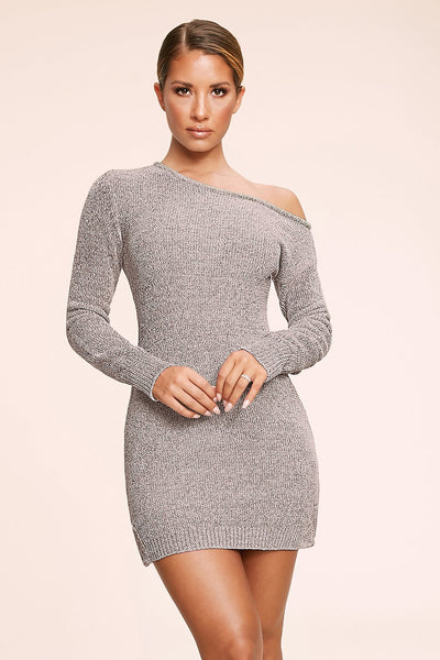 Alegra Chenille Off The Shoulder Dress - Grey
