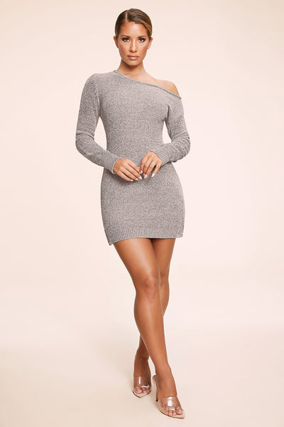 Alegra Chenille Off The Shoulder Dress - Grey - MESHKI