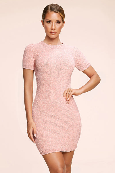 Nadia Chenille Short Sleeve Mini Dress - Pink
