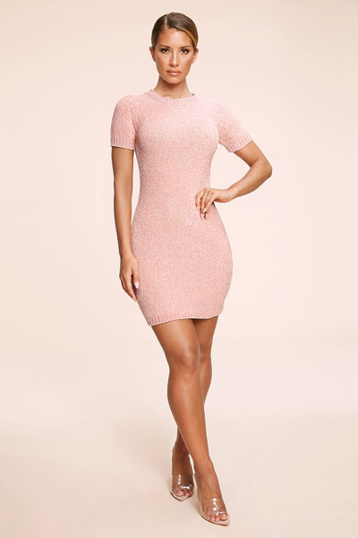 Nadia Chenille Short Sleeve Mini Dress - Pink - MESHKI
