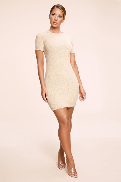 Nadia Chenille Short Sleeve Mini Dress - Cream - MESHKI