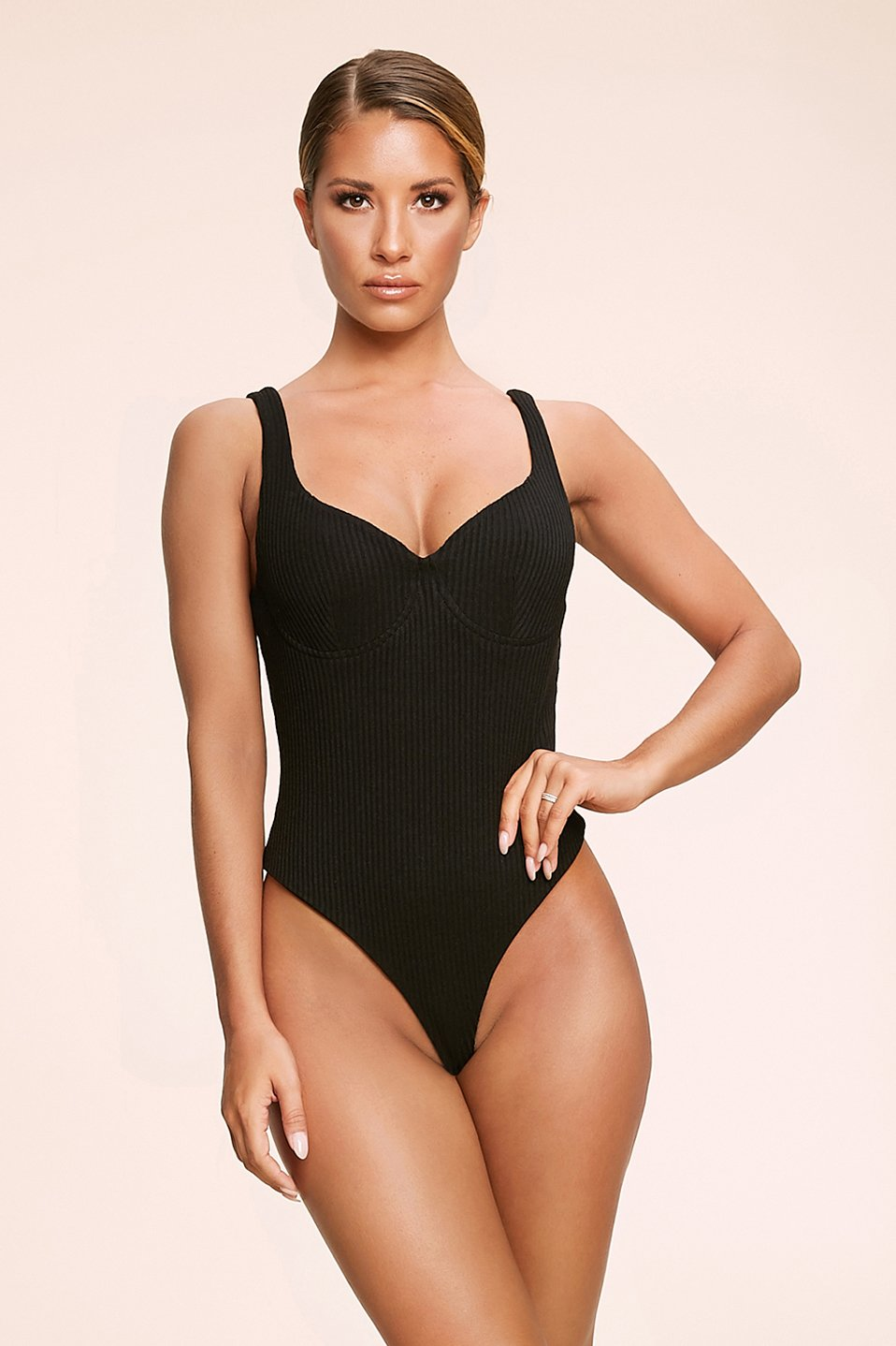 Melita Ribbed Underwire Bodysuit - Black - MESHKI
