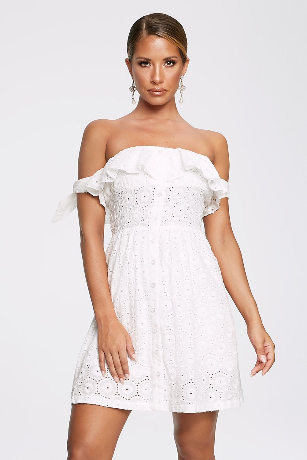 Aina Broderie Anglaise Dress - White - MESHKI