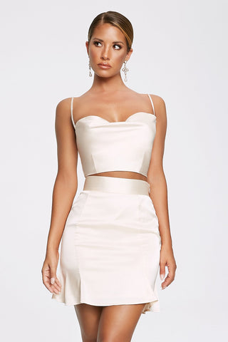 Madeline Cowl Front Crop Top - Ivory - MESHKI