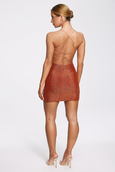 Mabel Shimmer Lace Up Mini Dress - Shimmer Orange - MESHKI