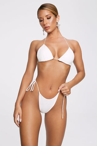 Amalia Tie Up Bikini Bottoms - White