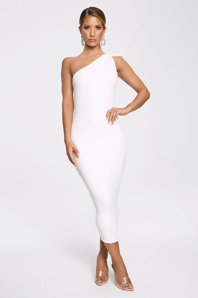 Rosetta Knotted One Shoulder Midi Dress - Ivory