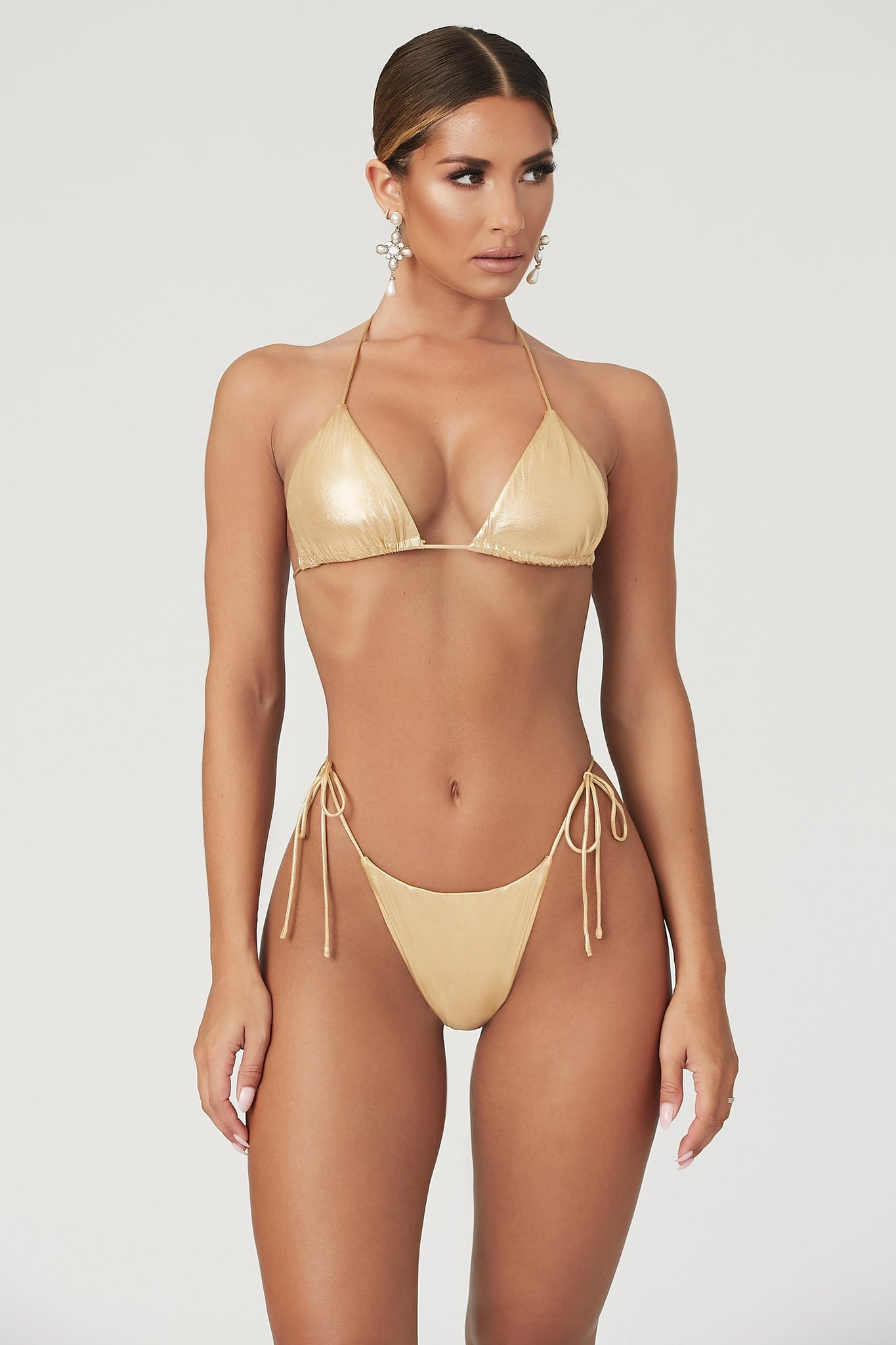 Amalia Tie Up Bikini Bottoms - Gold - MESHKI