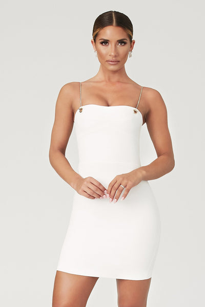 Chelsea Chain Strap Mini Dress - White