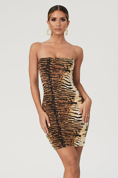 Mia Thin Strap Bodycon Mini Dress - Tiger