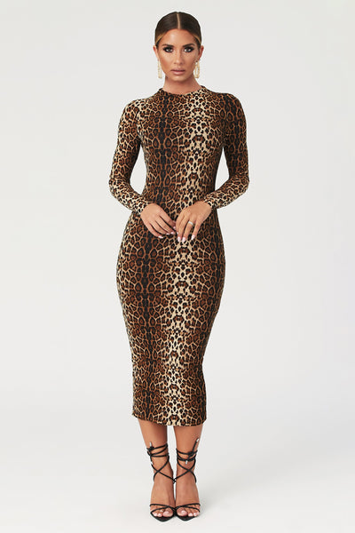 Cadence Long Sleeve Midi Dress - Leopard