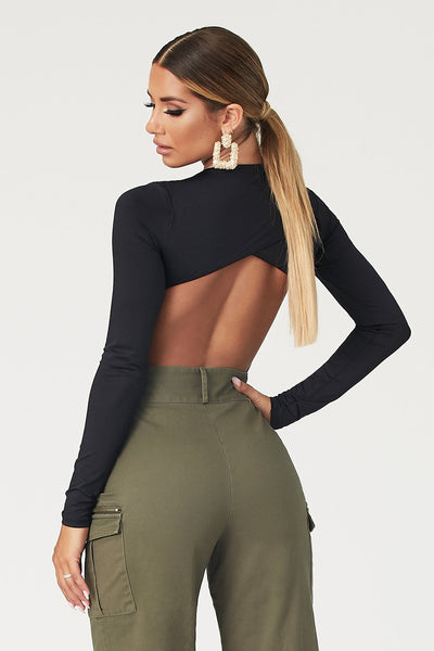 Rayne Cut Out Long Sleeve Bodysuit - Black