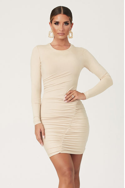 Carissa Long Sleeve Ruched Mini Dress - Nude