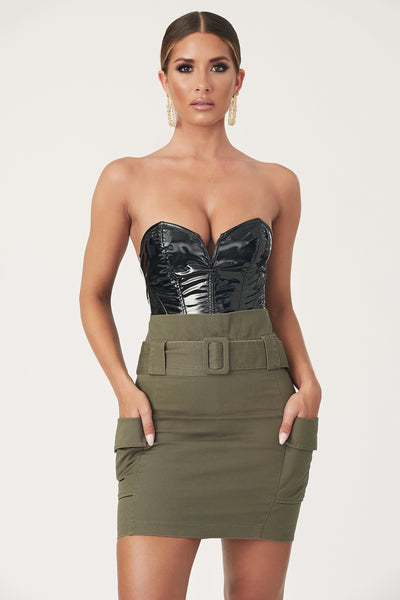 Ana Belted Paperbag Waist Mini Skirt - Khaki
