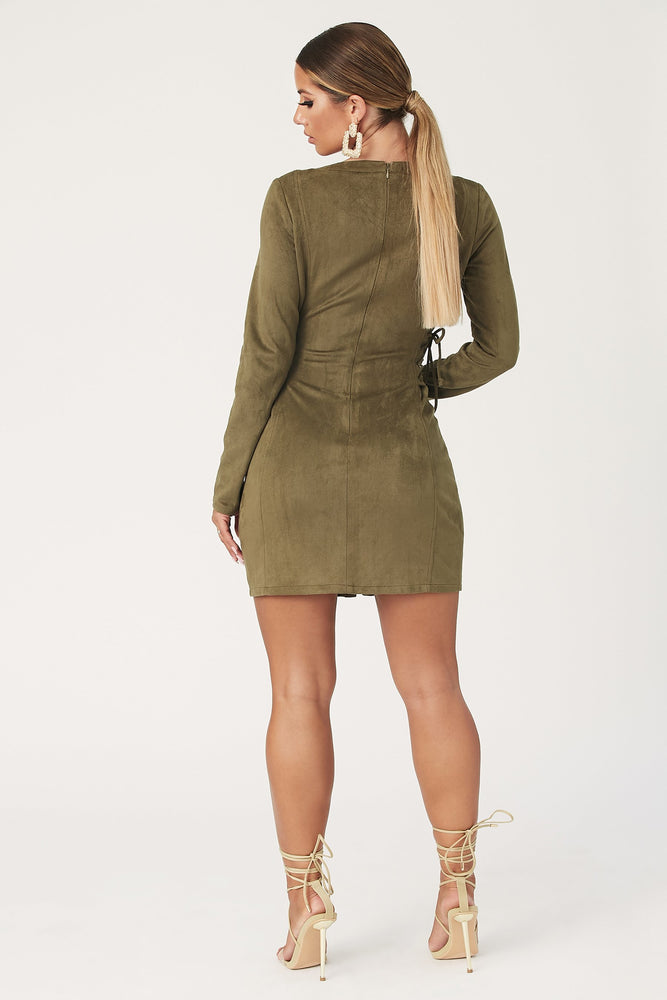Jaiyana Long Sleeve Lace Up Mini Dress - Khaki - MESHKI