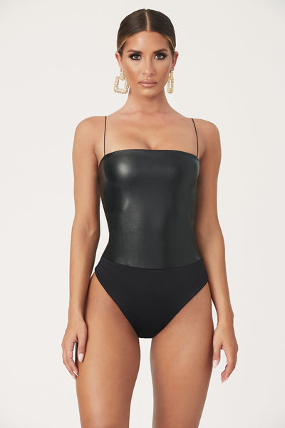 Keren Leatherette Thin Strap Bodysuit - Black