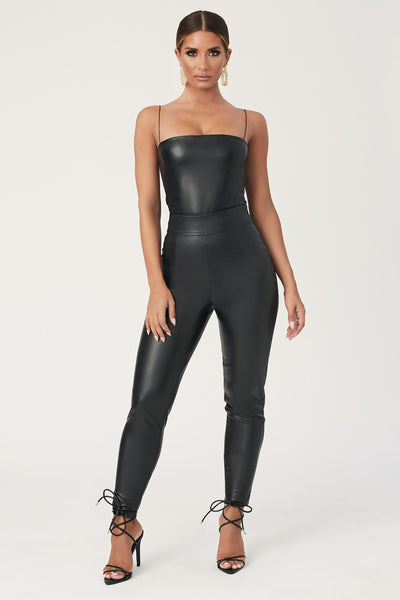 Zaidee Leatherette High-Waisted Pants - Black