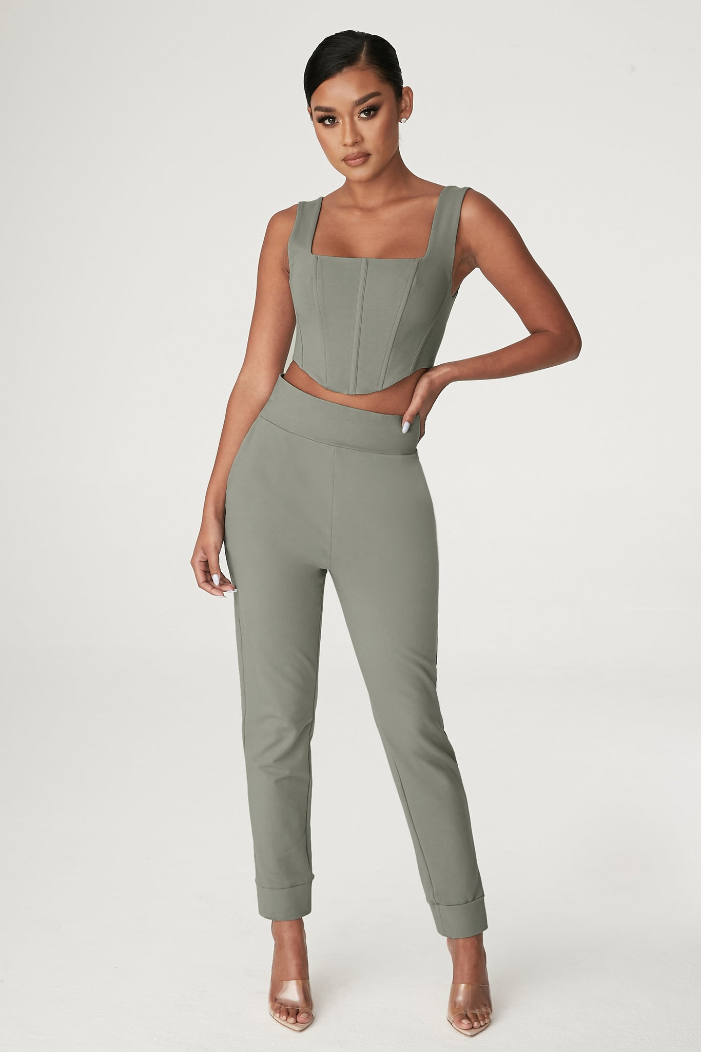 Amelia Fitted High Waisted Joggers - Sage - MESHKI