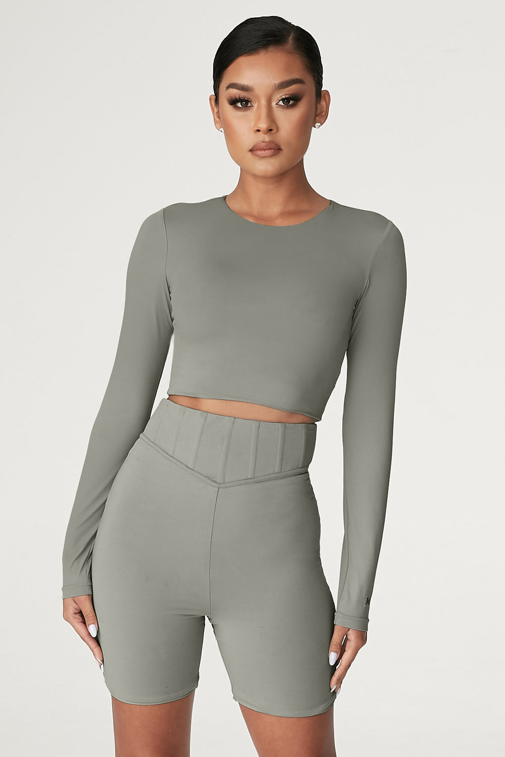Emely Long Sleeve Crop Top  - Sage - MESHKI