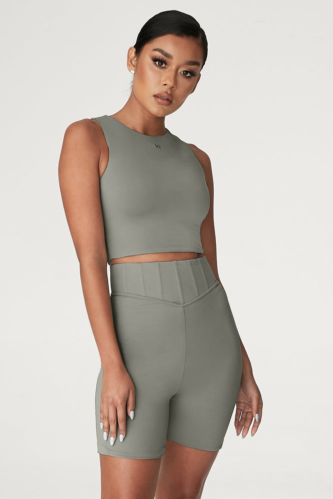 Chaya High Waisted Boned Bike Short - Sage - MESHKI