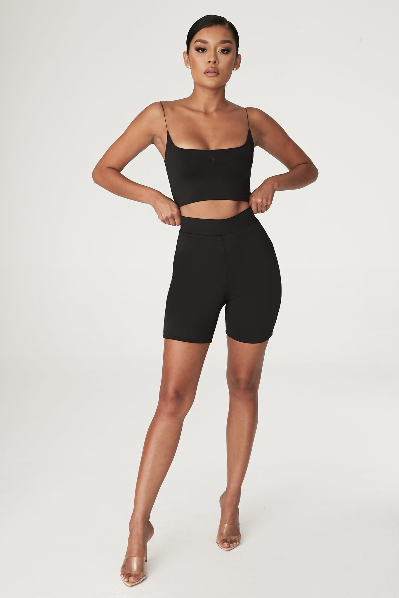 Cameryn High Waisted Bike Short - Black - MESHKI