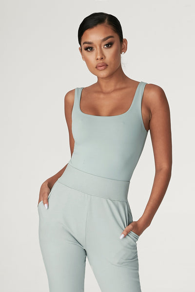 Jaelyn Thick Strap Scoop Neck Bodysuit - Storm
