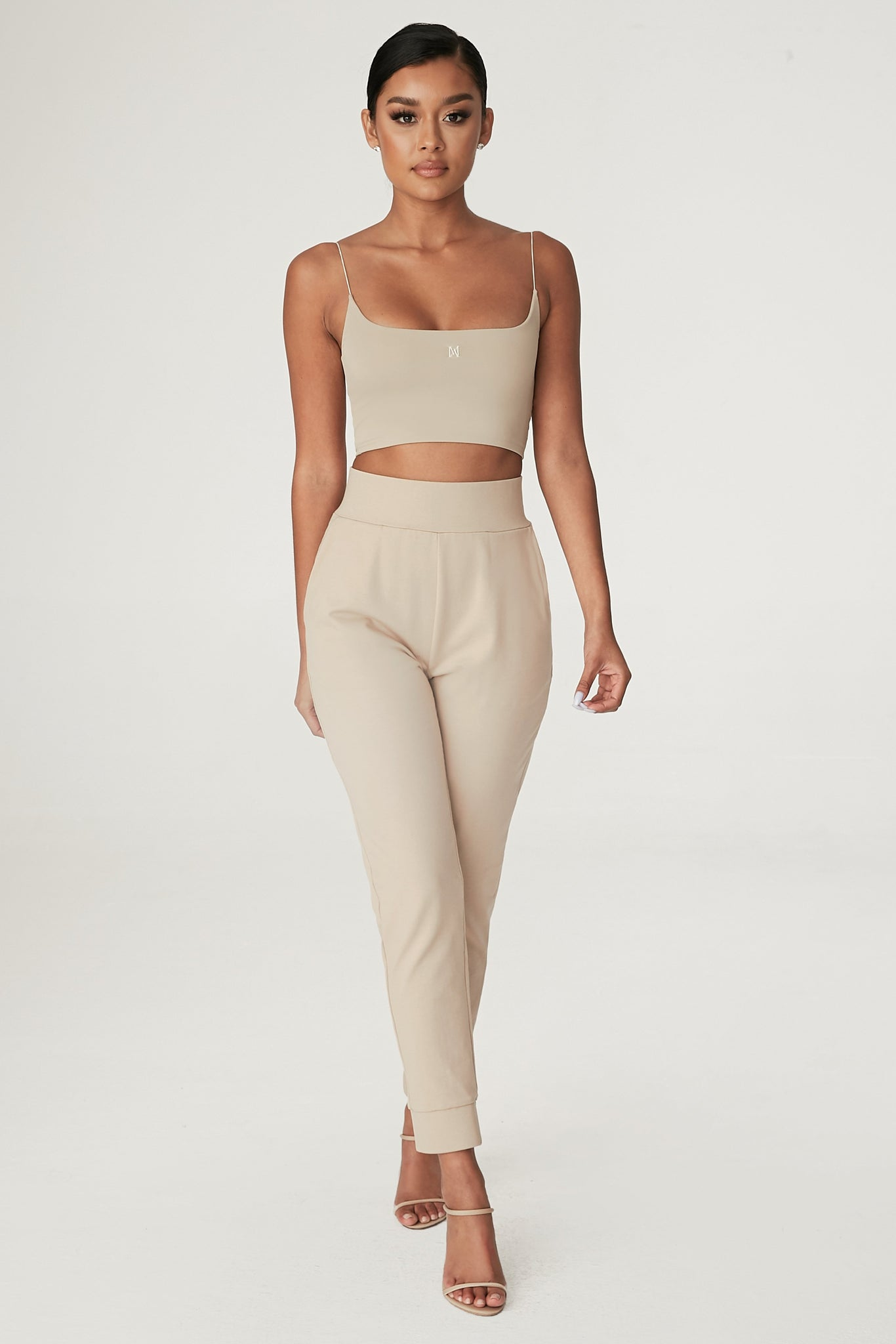 Amelia Fitted High Waisted Joggers - Almond - MESHKI