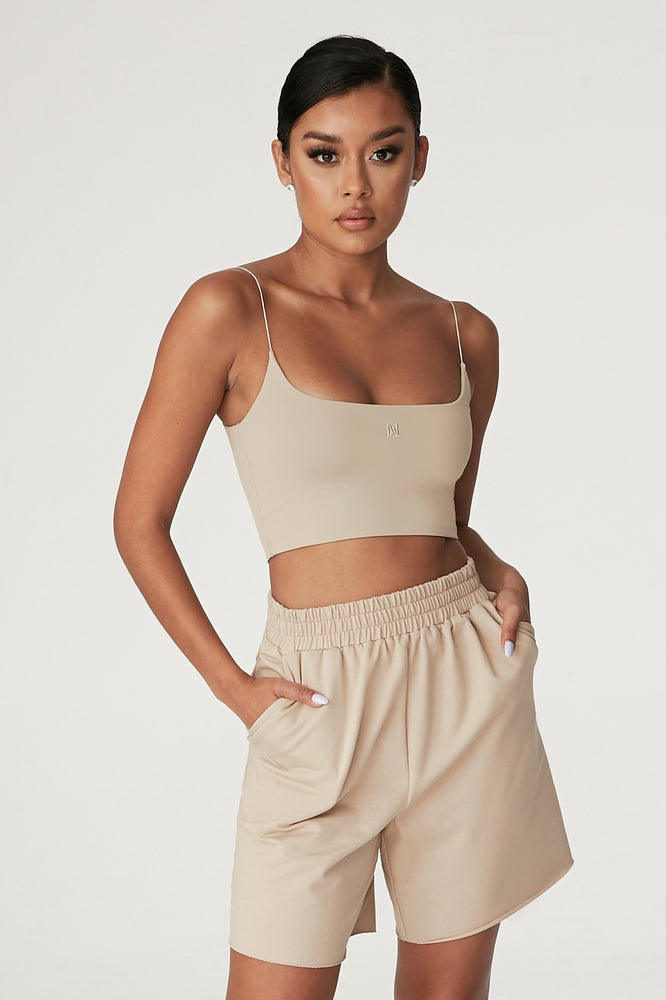 Kaiya Thin Strap Scoop Neck Crop Top - Almond - MESHKI