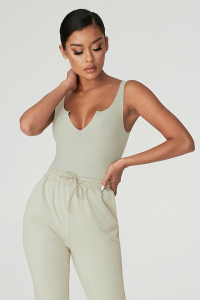 Millie V-Neck Sleeveless Bodysuit - Olive