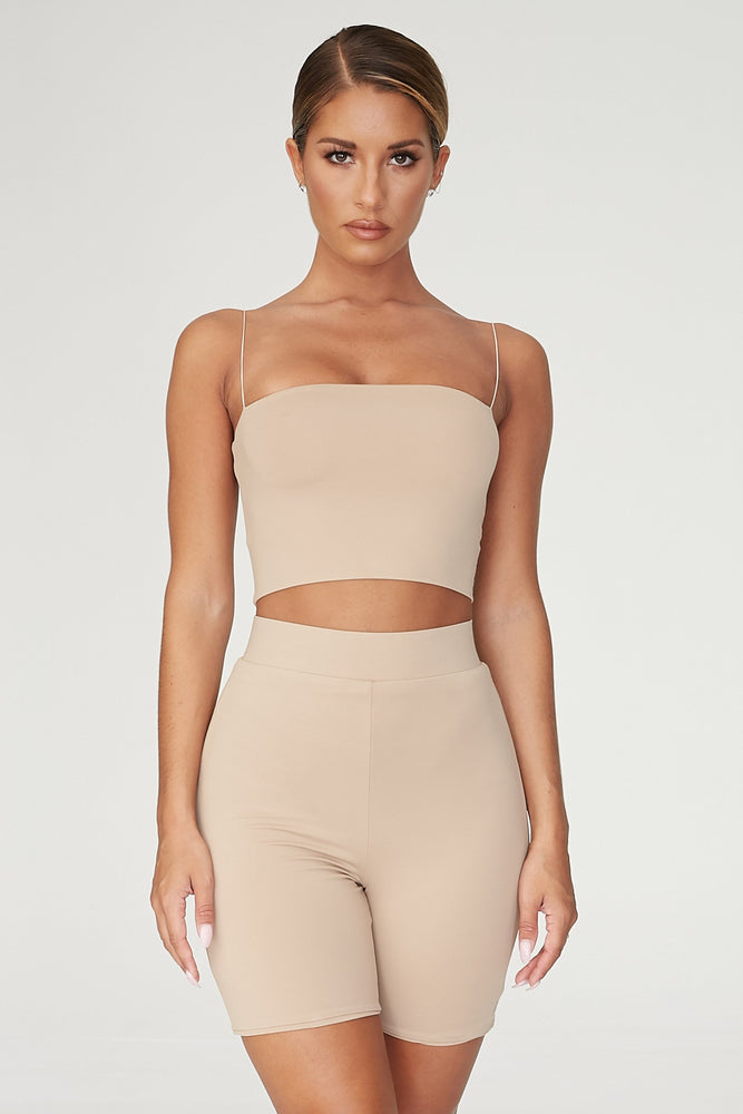 Cameryn High Waisted Bike Short - Almond - MESHKI