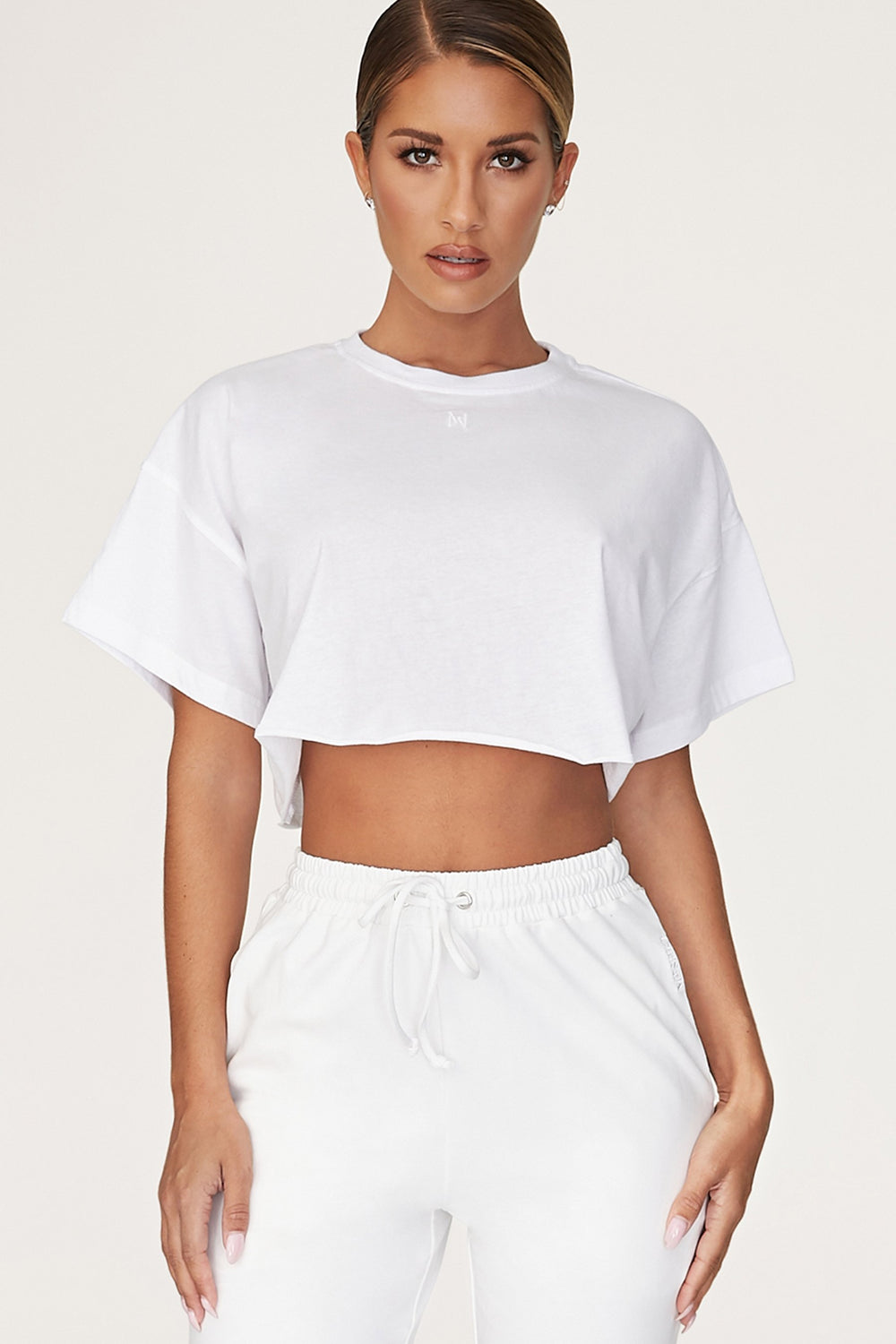 Alix Cropped Oversized T-shirt - White - MESHKI