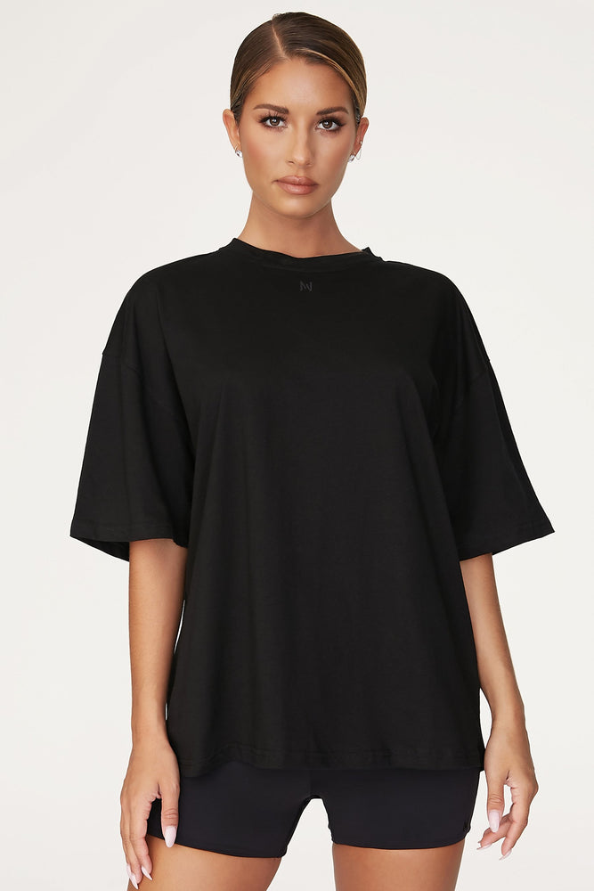 Rose Oversized T-Shirt - Black - MESHKI
