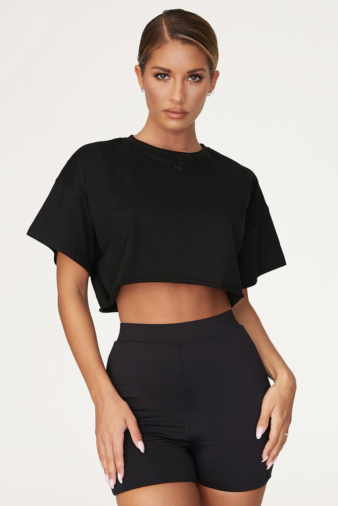 Alix Cropped Oversized T-shirt - Black - MESHKI