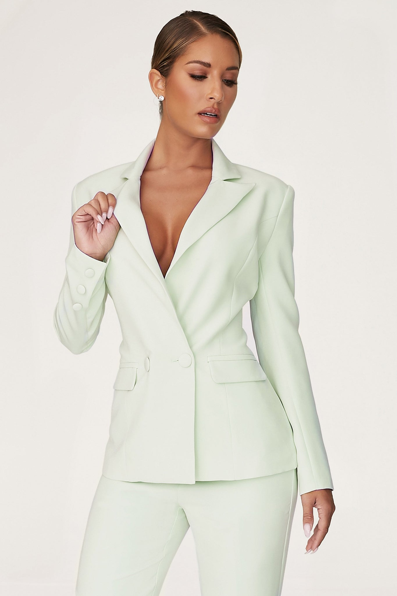Charlize Double Breasted Long Blazer - Pistachio - MESHKI