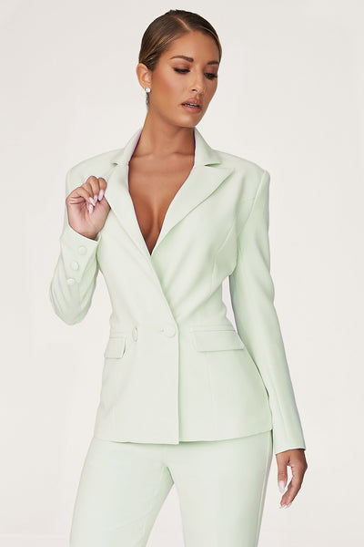 Charlize Double Breasted Long Blazer - Pistachio
