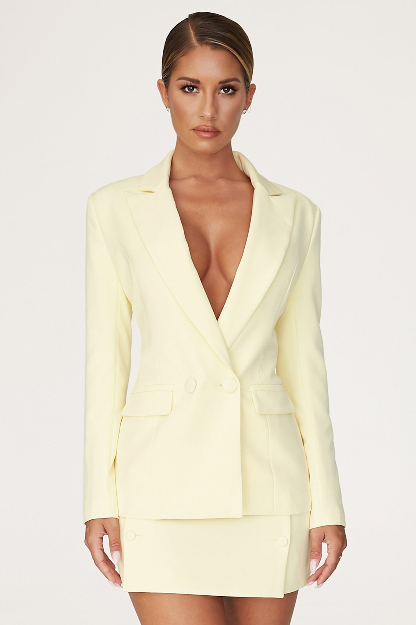 Charlize Double Breasted Long Blazer - Lemon - MESHKI