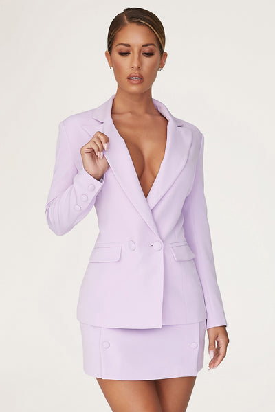Charlize Tailored Wrap Skirt - Lilac