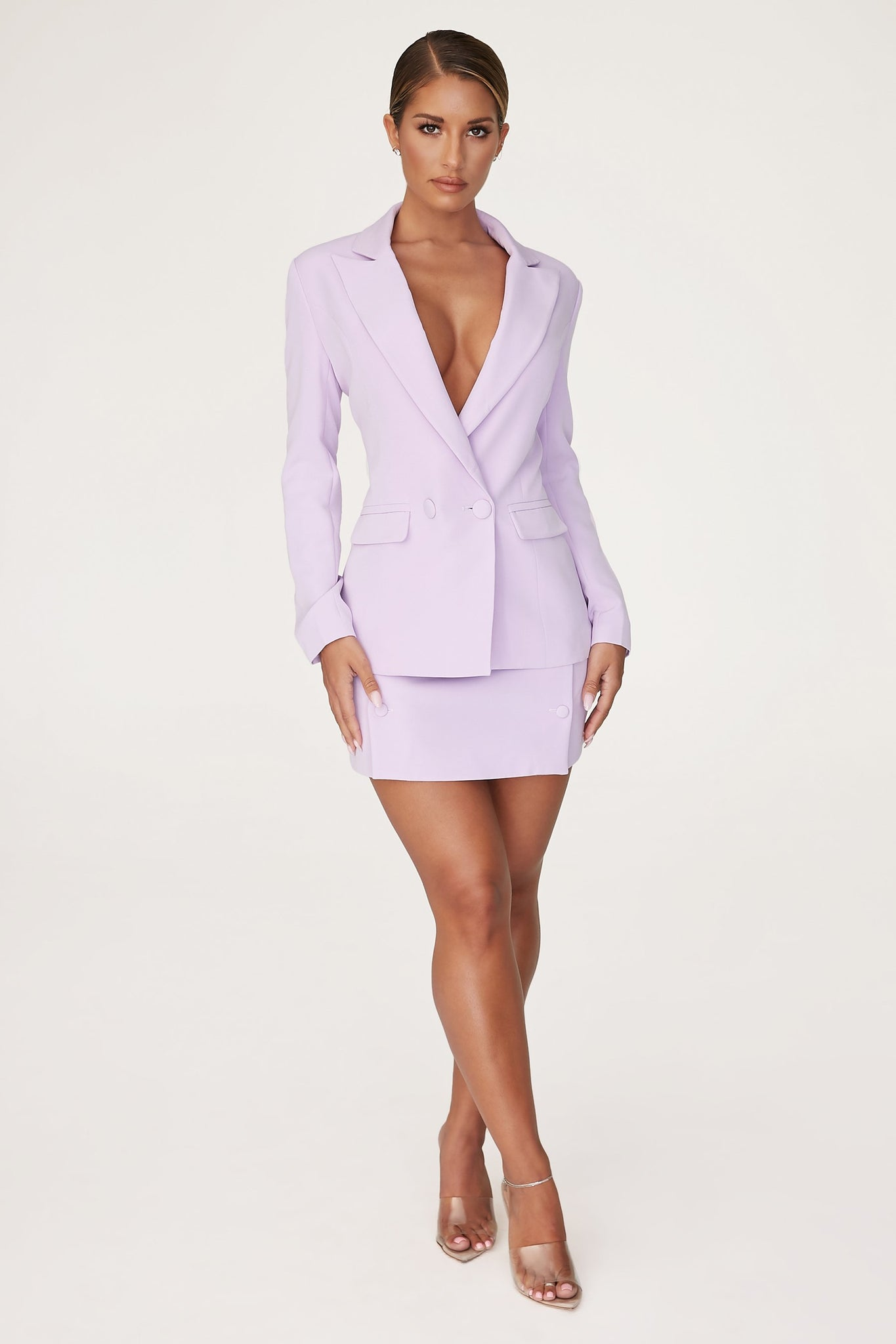 Charlize Tailored Wrap Skirt - Lilac - MESHKI
