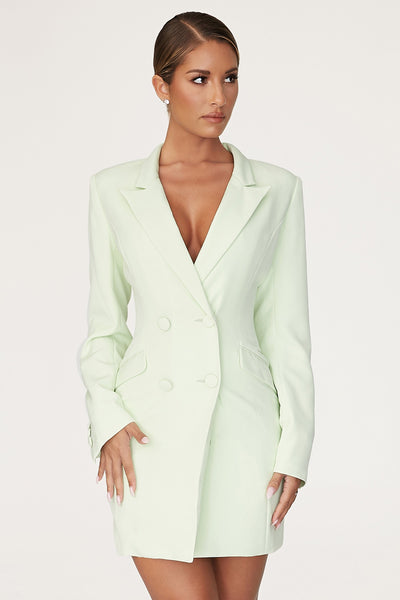 Heather Wide Collar Blazer Dress - Pistachio