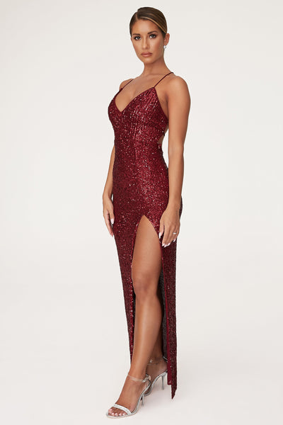 Emilia Sequin Strappy Back Gown - Burgundy