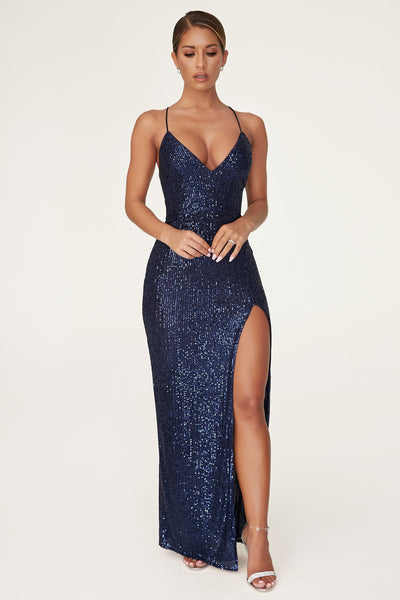 Emilia Sequin Strappy Back Gown - Navy