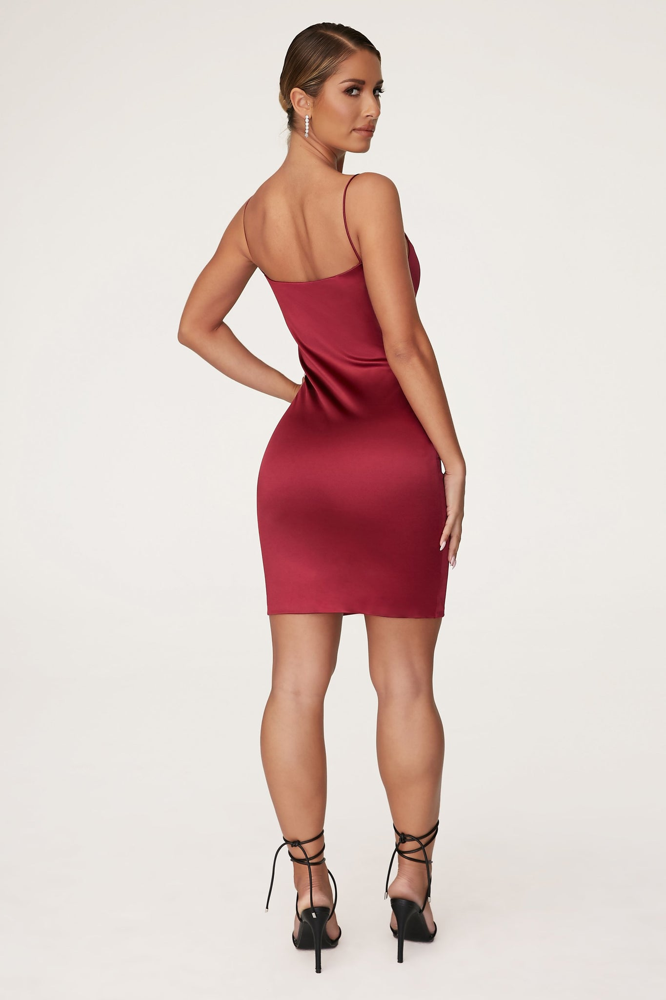Adrena Thin Strap Mini Dress - Burgundy - MESHKI