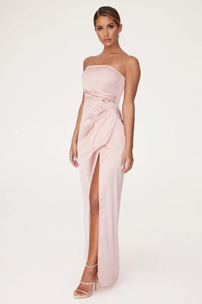 Riely Ruched Strapless Drape Split Dress - Dusty Pink